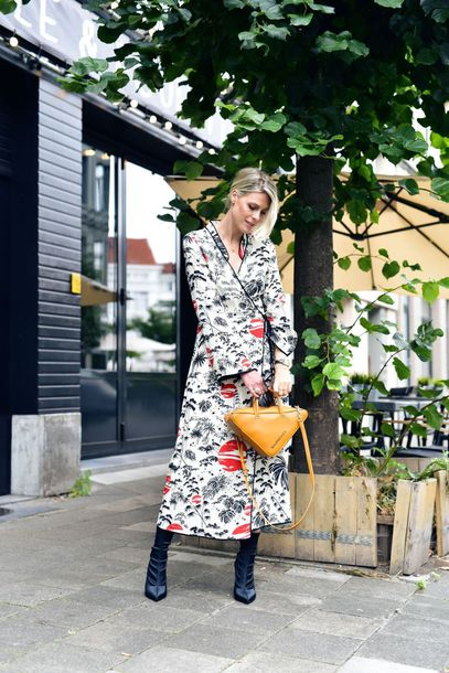 dress tumblr wrap dress floral floral dress long sleeves long sleeve dress boots black boots bag handbag