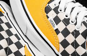 779426cdfdcb0e black white checkered vans with yellow - Google Search