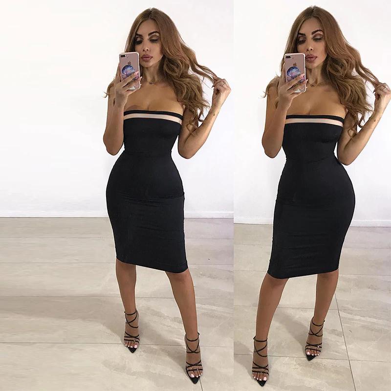 Bandeau Midi Bandage Dress Black White