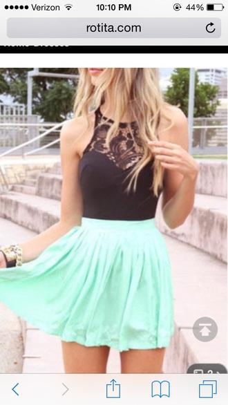 dress mint and black dress