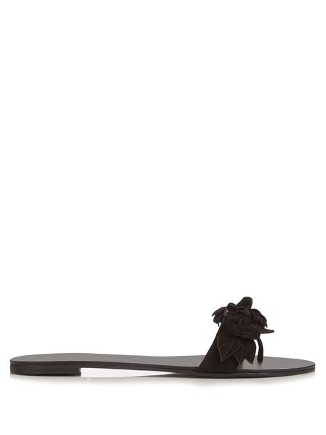 embellished floral suede black shoes