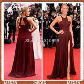 celebrity style,burgundy,sexy evening dresses red,side slit,evening dress,sexy prom dress,open back prom dress,chiffon,chiffon dress,fashion dress,dress with slit