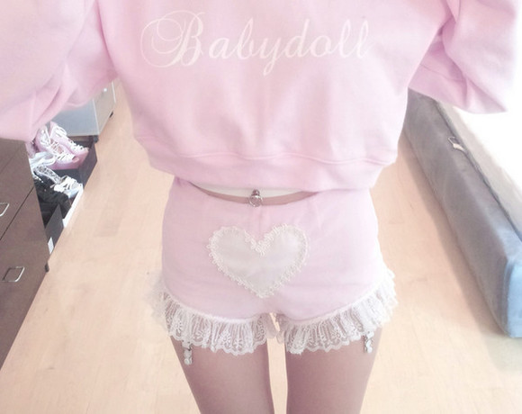 garter pastel goth baby pink garters japan cute shorts