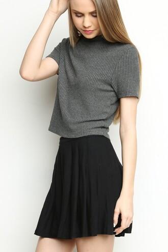t-shirt grey col cool girl fashioon rayé coton manche courtes