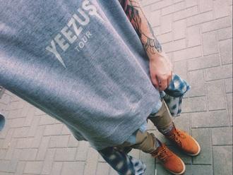 t-shirt gray yeezus tout tour kanye west pullover