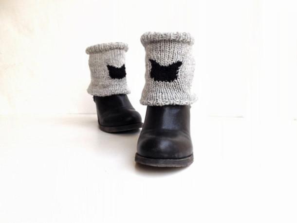 Knit Cat Knee Leggings Leg Warmers Boots Boot Cuffs Heart Boot