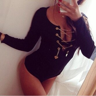 top sexy strappy black fashion fall outfits gold chain style bodysuit cleavage femme fatale long sleeves romper instagram dress women dress