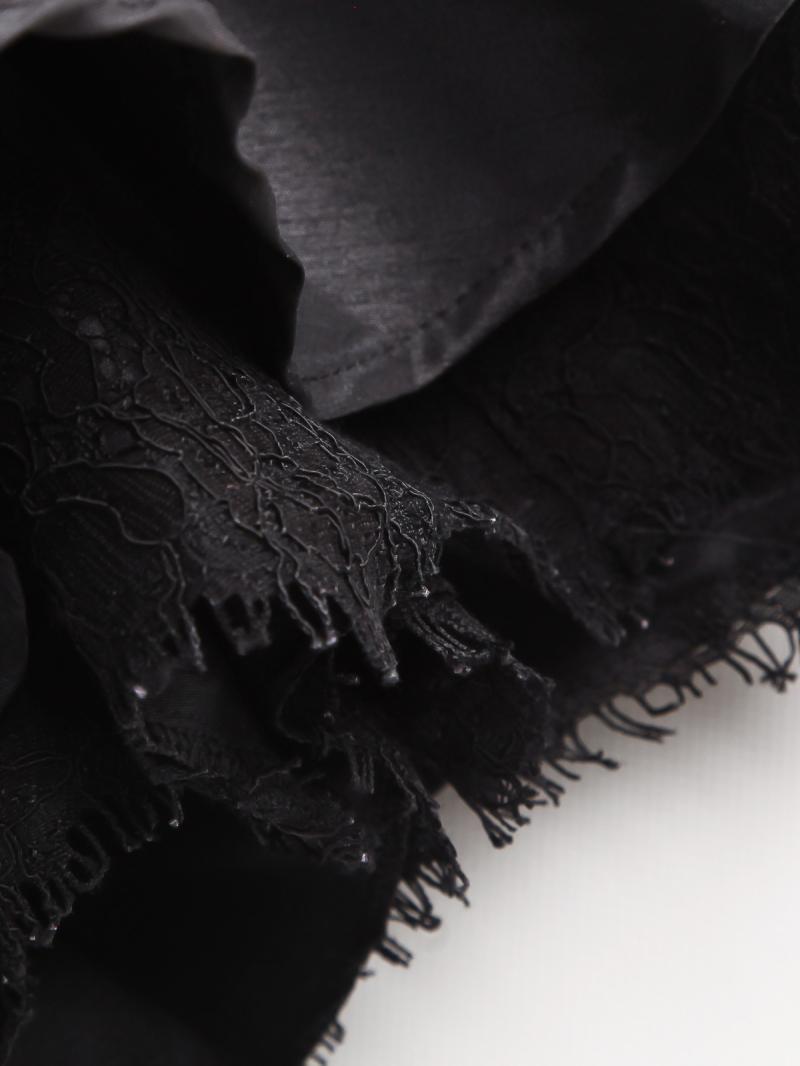 Black Contrast Lace Short Sleeve Bead Loose Dress - Sheinside.com