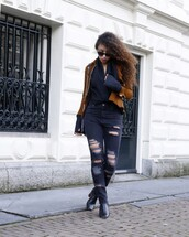 from hats to heels,blogger,blouse,jacket,jeans,shoes,bag,sunglasses