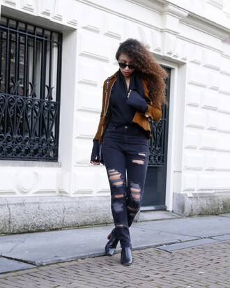 from hats to heels blogger blouse jacket jeans shoes bag sunglasses