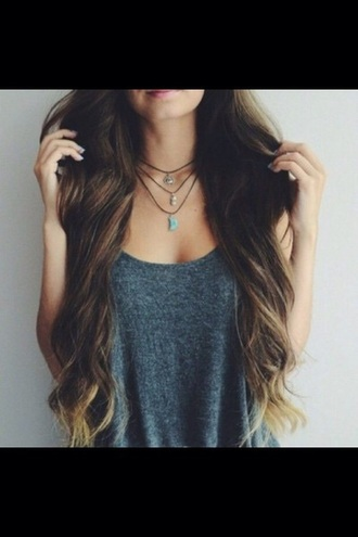 jewels necklaxr tumblr tumblr girl long hair brown hair summer vest tank top necklace cute hipster grunge vest top blouse