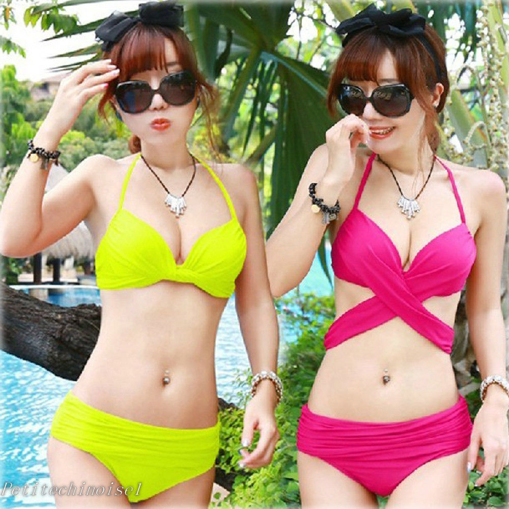 Neon multiway push up halter bikini set crisscross swimsuit bathing suit sw471