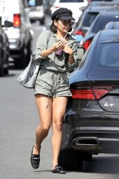 romper,shorts,top,vanessa hudgens,hat,streetstyle,summer outfits