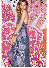 dress,karlie kloss,summer dress,maxi dress,backless dress,bracelets,jewels