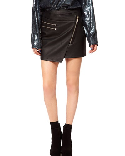 Black asymmetrical pu mini skirt with zippers sk0150052