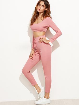 top pink fashion sporty sportswear crop tops pants yoga pants long sleeves sheinside