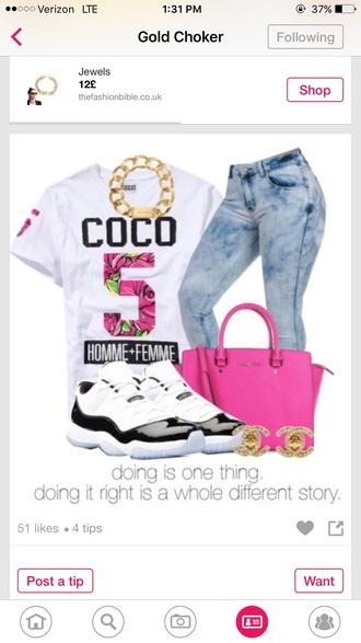 shirt white t-shirt meme shirt style rose pink number 5