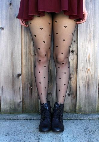 pants hearts tights black skirt