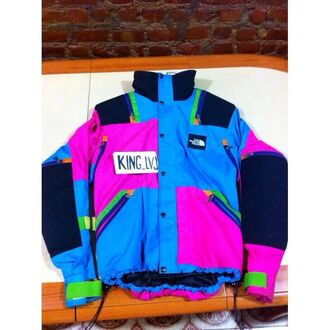 jacket windbreaker coat winter outfits cold colorful 90s style north face blue pink green orange oversized nike winter coat retro dope vintage 90's north face king red purple lime green jacket old school