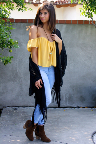 cardigan kimono coachella festival fringes fringe kimono off the shoulder boots jeans style fashion blogger bohemian boho black boho chic jewelry boutique musthave black kimono black kimono fringe lace lace top spring outfits spring lookbook yellow top crochet crochet top crop tops