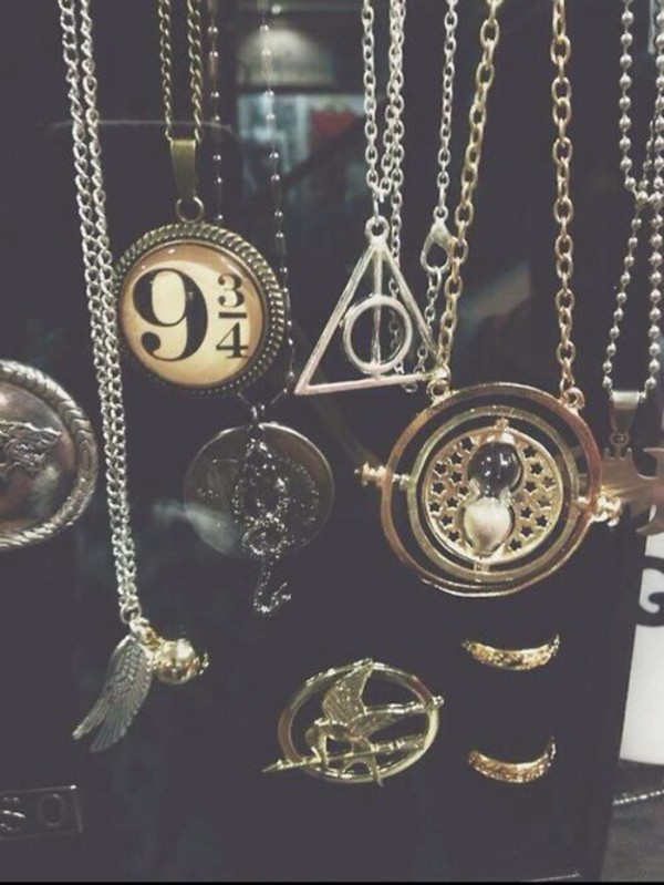 jewels harry potter necklace harry potter necklaces harry necklaces potter necklaces necklace deathly hallows necklace harry potter and the deathly hallows 9 3/4 hunger games necklace the hunger games snitch vintage necklaces vintage necklace vintage time turner mockingjay katniss everdeen always