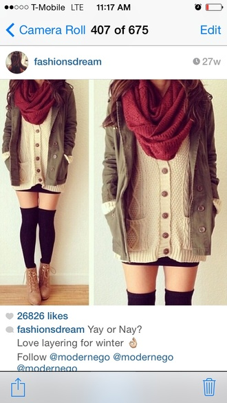 clothes boots army green jacket scarf socks