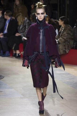 jacket skirt ankle boots runway sacai model fashion week 2016 paris fashion week 2016