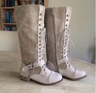 shoes boots lace up lace-up shoes knee high boots grey white taupe colour beige