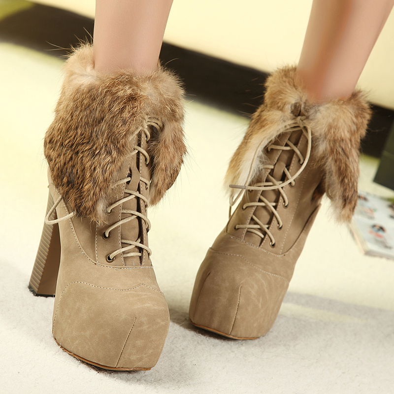2014 winter new real rabbit fur thick heel snow boots high heeled lace waterproof square toe martin boots ladies h867