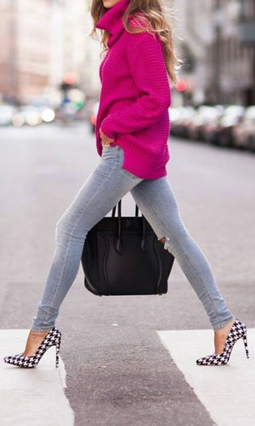 Shoes: high heels, pattern, jeans, bag, sweater, knitted sweater ...