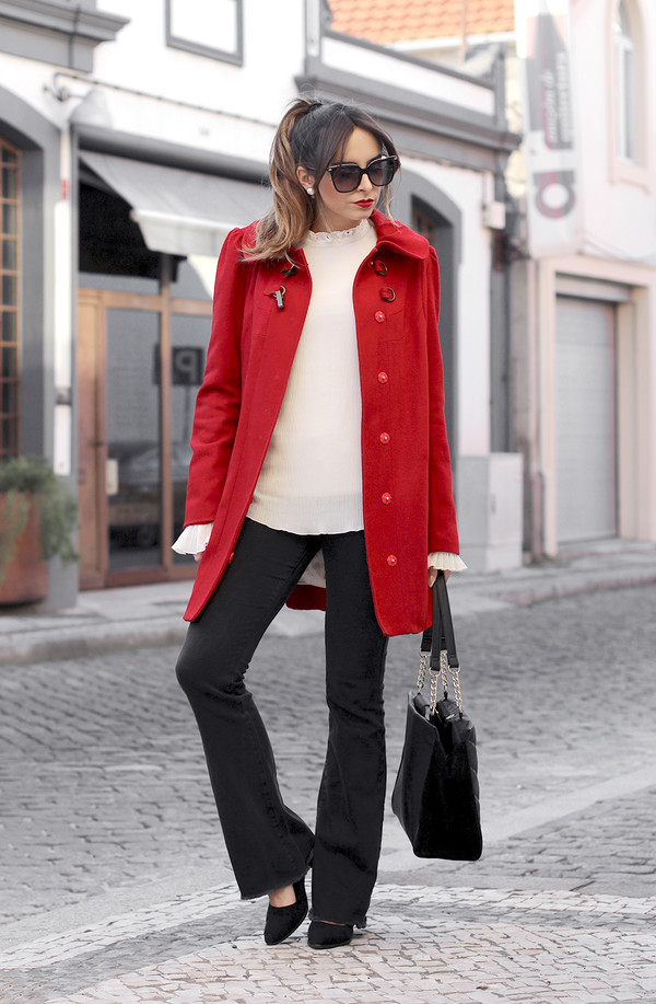 Coat tumblr winter work outfit work outfits office outfits pants black pants flare pants ...