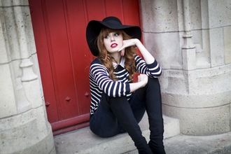 miss pandora blogger jeans floppy hat striped sweater