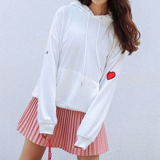 sweater white jumper trendy fashion style cool warm fall outfits boogzel girl girly girly wishlist hoodie white sweater heart red tumblr pleated skirt