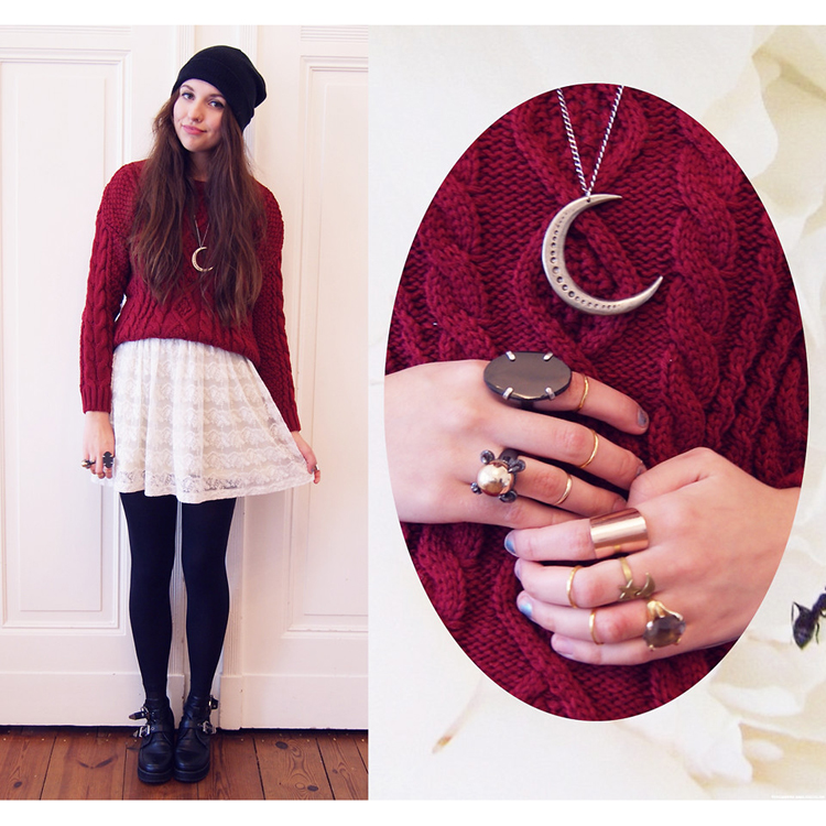 Wine Red Cable Knit Sweater - Retro, Indie and Unique Fashion