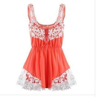 Outletpad | White Decorative Flower Playsuit Orange | Online Store Powered by Storenvy