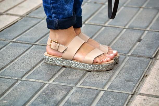 50633f775d3 shoes sandals glitter beige lefties flatforms flatform sandals