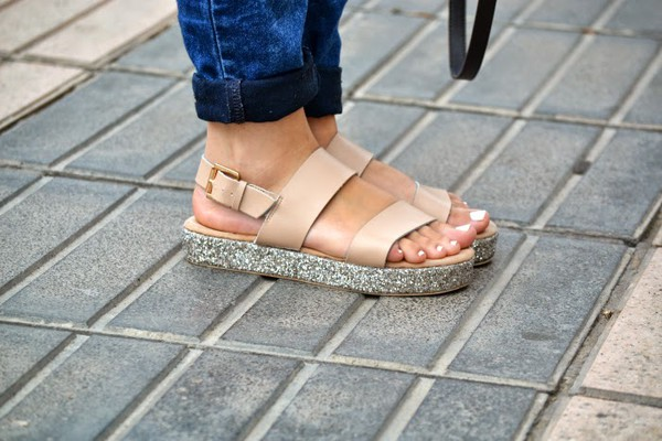 shoes sandals glitter beige lefties flatforms flatform sandals