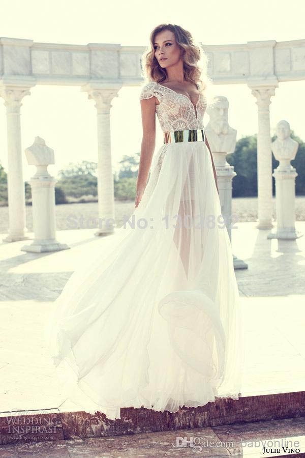Aliexpress.com : buy 2014 fashion chiffon cap sleeves lace v neck a line white prom dresses party dresses floor length prom gown custom made from reliable dress zara suppliers on tideclothes