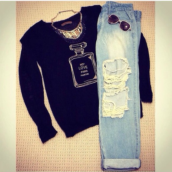 glitter gold sweater pullover pullovers necklace diamonds glasses sunglasses jeans ripped jeans blue light blue light jeans denim parfume bottle chanel black