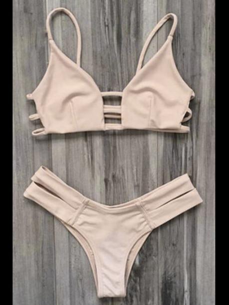 Zaful Spaghetti Straps Bandage Bikini in pink