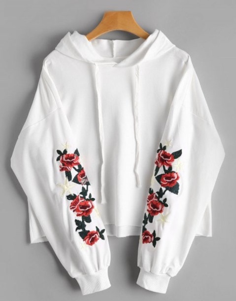 sweater embroidered girly white hoodie embroidered flowers floral