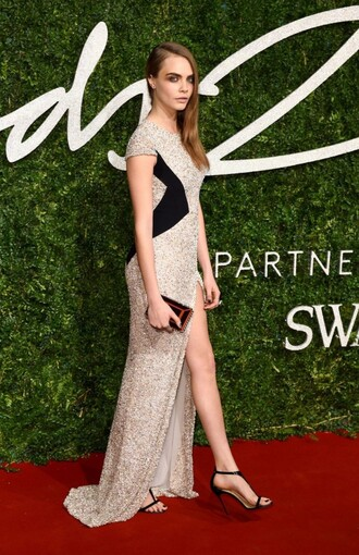 dress gown sequins prom dress sparkly cara delevingne sandals