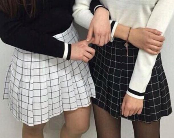 skirt white black skirt white grid grid line skirt kawaii