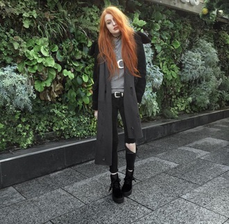 coat grey white boots fashion style choker necklace outfit grunge grunge t-shirt soft grunge emo scene black black boots tumblr tumblr outfit dark alternative edgy cute girl on point clothing spikes moon moon necklace crescent moon belt slit knee trendy trendingnewone hipster urban fall outfits clothes girly chic