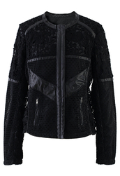 jacket,faux leather,crochet,floral,bomber jacket,black