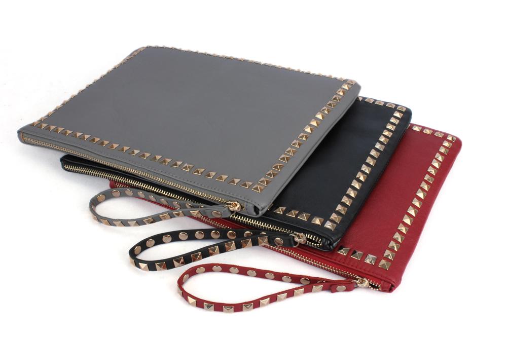 Celebrity Studded Faux Leather Flat Envelope Clutch Bag Case Purse Handbag New | eBay