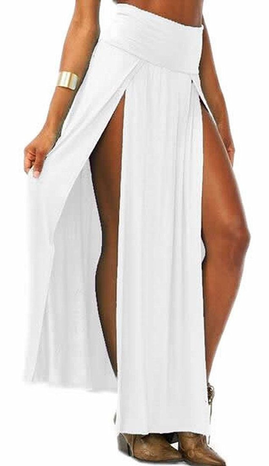 1ce9521456 Cruiize Womens Stylish Sexy Solid Double Slit High Waist Maxi Skirt white  One-Size at Amazon Women's Clothing store: