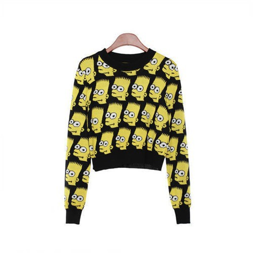 New Women Bart Simpson Pullover Cartoon Sweater Ladies Vintage Loose Outerwear Warm Sweater Top   Wrap Mini Skirt 196801-in Pullovers from Apparel & Accessories on Aliexpress.com