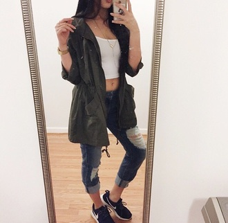 jacket green jeans denim ripped ripped jeans