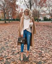 shoes,pumps,high heel pumps,leopard print,jeans,ripped jeans,high waisted jeans,handbag,turtleneck sweater,oversized sweater,coat,long coat,wool coat